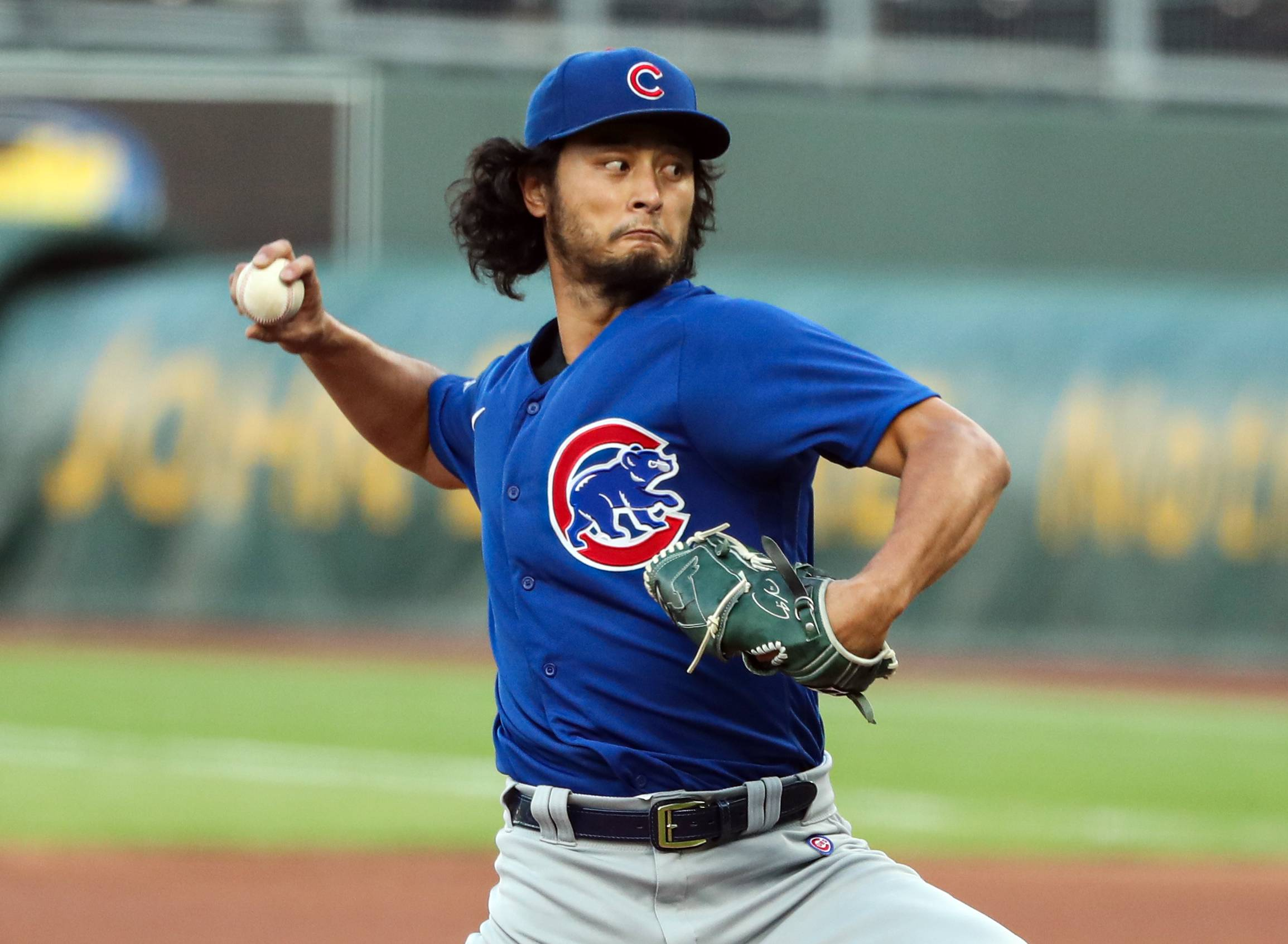 Yu Darvish pitches against the Royals on Aug. 5 in Kansas City, Missouri. | USA TODAY / VIA REUTERS