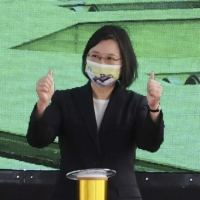 Taiwan President Tsai Ing-wen speaks in the city of Kaohsiung on Tuesday.  | AP