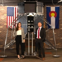 Kyle Acierno (R), CEO of Ispace Technologies U.S., a subsidiary of Japanese space startup Ispace Inc., and Kursten O'Neill, Ispace's U.S. lander program director, in Denver, Colorado, on Nov. 9, 2020 | COURTESY OF ISPACE / VIA KYODO