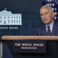 Dr. Anthony Fauci, director of the National Institute of Allergy and Infectious Diseases, speaks during a briefing with the coronavirus task force at the White House in Washington last Thursday. | AP
