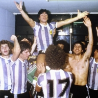 Diego Maradona (above) celebrates with his Argentina teammates after beating the Soviet Union to win the 1979 FIFA World Youth Championship on Sept. 7, 1979, at Tokyo's National Stadium. | GETTY / VIA KYODO