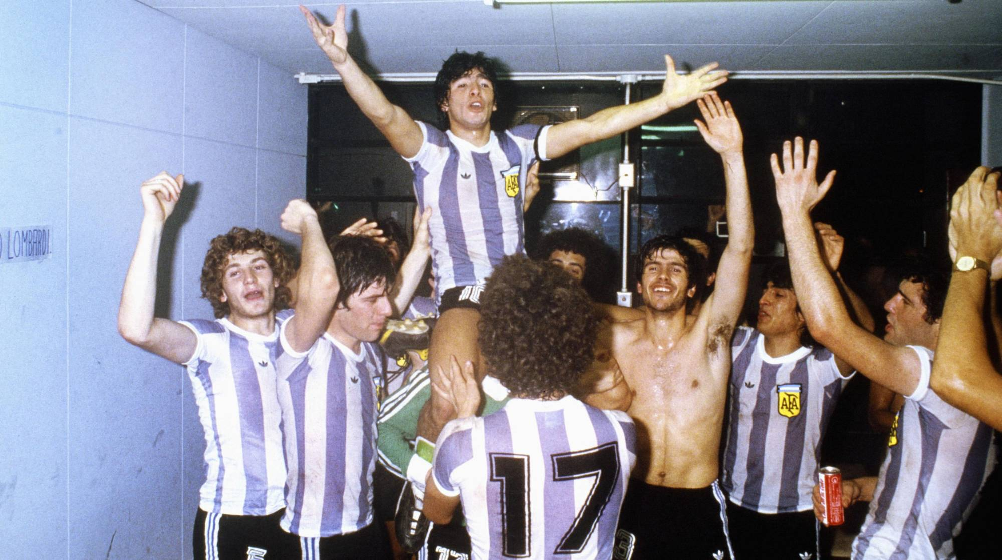 Diego Maradona (above) celebrates with his Argentina teammates after beating the Soviet Union to win the 1979 FIFA World Youth Championship on Sept. 7, 1979, at Tokyo's National Stadium. | GETTY IMAGES / VIA KYODO