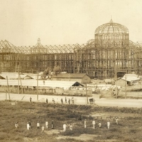 Work in progress: A photograph of Tokyo Station under construction, taken by Miyauchi Kotaro in 1911. In order to get a shot from this angle, it is presumed Kataro either found or erected scaffolding on which to set up his equipment.