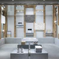 Working together: T-House New Balance's latest exhibition features the work of artist Yoshihisa Tanaka, who collaborated with Awagami Factory to create washi paper patterned with recycled textile offcuts from New Balance factories.  | KOHEI OMACHI