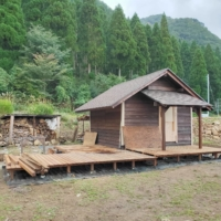 The Ueyamas have constructed a lodge on the plot of land they bought. The couple hopes to open the camping ground to the public for a fee next summer. | COURTESY OF KYOHEI UEYAMA