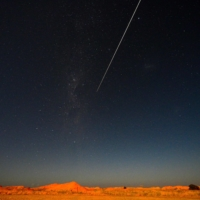 The Hayabusa2 probe's sample drop to Earth after landing on and gathering material from an asteroid some 300 million kilometers away is seen from Coober Pedy in South Australia on Dec. 6. | AFP-JIJI