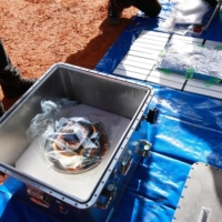 Hayabusa2's capsule, carrying the first extensive samples of an asteroid, is seen after it was collected in Woomera, Australia,  on Sunday. | JAXA / VIA REUTERS