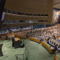 The U.N. General Assembly held on Sept. 22 at the U.N. headquarters in New York | U.N. / VIA KYODO