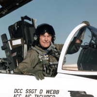 Then-Brig. Gen. Chuck Yeager is seen in the cockpit of an F-15 at Edwards Air Force Base in California in 1995. U.S. aviation legend Yeager, the first pilot to break the sound barrier, has died, his wife announced on Monday. | USAF / VIA AFP-JIJI