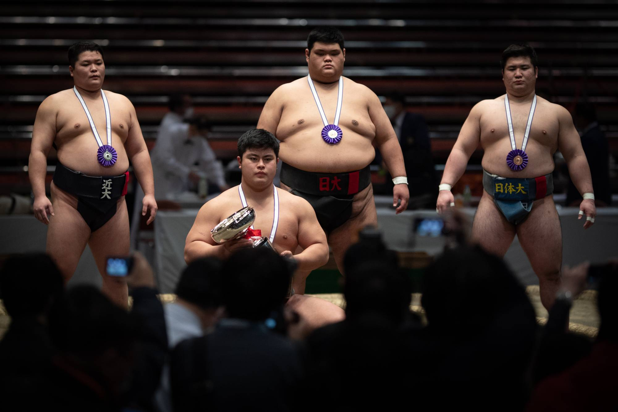 All Japan winner Hidetora Haneda (crouching) poses for photos with the remainder of the top four. | JOHN GUNNING