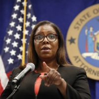 FILE- IN THIS AUG. 6, 2020 FILE PHOTO, NEW YORK STATE ATTORNEY GENERAL LETITIA JAMES TAKES A QUESTION AT A NEWS CONFERENCE IN NEW YORK. FEDERAL REGULATORS AND A GROUP OF STATES LAUNCHED A LANDMARK ANTITRUST OFFENSIVE AGAINST FACEBOOK, ACCUSING THE SOCIAL NETWORK OF ABUSING ITS MARKET POWER IN SOCIAL NETWORKING TO CRUSH SMALLER COMPETITORS. 'IT'S REALLY CRITICALLY IMPORTANT THAT WE BLOCK THIS PREDATORY ACQUISITION OF COMPANIES AND THAT WE RESTORE CONFIDENCE TO THE MARKET,' SAID JAMES DURING A PRESS CONFERENCE ANNOUNCING THE LAWSUIT. (AP PHOTO/KATHY WILLENS, FILE)
