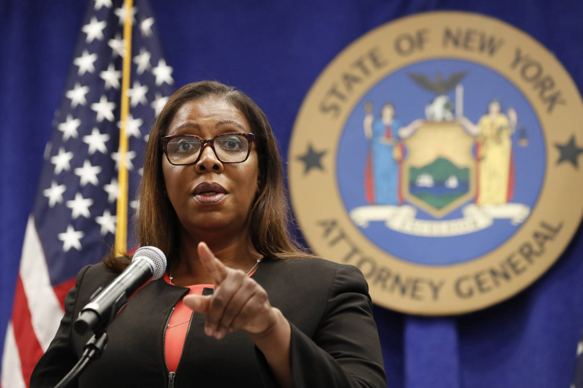|  FILE- IN THIS AUG. 6, 2020 FILE PHOTO, NEW YORK STATE ATTORNEY GENERAL LETITIA JAMES TAKES A QUESTION AT A NEWS CONFERENCE IN NEW YORK. FEDERAL REGULATORS AND A GROUP OF STATES LAUNCHED A LANDMARK ANTITRUST OFFENSIVE AGAINST FACEBOOK, ACCUSING THE SOCIAL NETWORK OF ABUSING ITS MARKET POWER IN SOCIAL NETWORKING TO CRUSH SMALLER COMPETITORS.