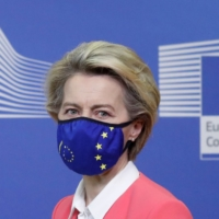 European Commission President Ursula von der Leyen holds a news conference following a phone call meeting with British Prime Minister Boris Johnson, in Brussels on Sunday. | POOL / VIA REUTERS