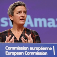 European Executive Vice-President Margrethe Vestager gives a news conference on antitrust case involving the Amazon website at the European Commission in Brussels on Nov. 10. | POOL / VIA REUTERS