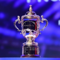 The Webb Ellis Cup is displayed ahead of the 2023 Rugby World Cup draw in Paris on Monday. | HANDOUT / VIA REUTERS