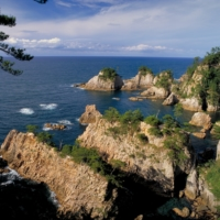 The Uradome Coast features cliffs, rocks and caverns sculpted over centuries by the Sea of Japan.