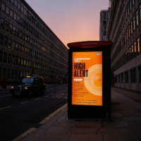 A coronavirus high alert poster at a bus stop in London in December | BLOOMBERG