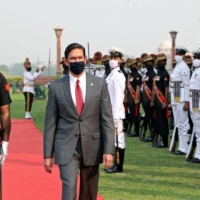 Mark Esper, then-U.S. secretary of defense, reviews an honor guard during a ceremonial reception at the South Block lawns in New Delhi on Oct. 26. | BLOOMBERG