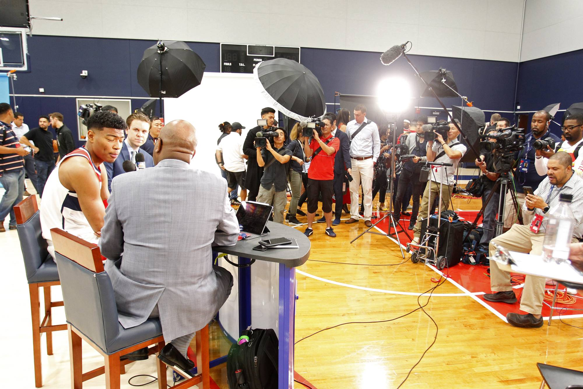 Wizards forward Rui Hachimura (left) speaks with members of the media during the team's media day on Sept. 30, 2019, in Washington. | USA TODAY / VIA REUTERS