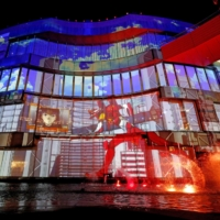 Animated push: Characters from the anime series 'Evangelion' are shown in projection mapping at the Canal City Hakata commercial complex in Fukuoka. | KYODO