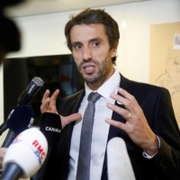 Paris 2024 chief Tony Estanguet speaks to the media after a news conference on Olympic preparations in Paris on Thursday. | REUTERS