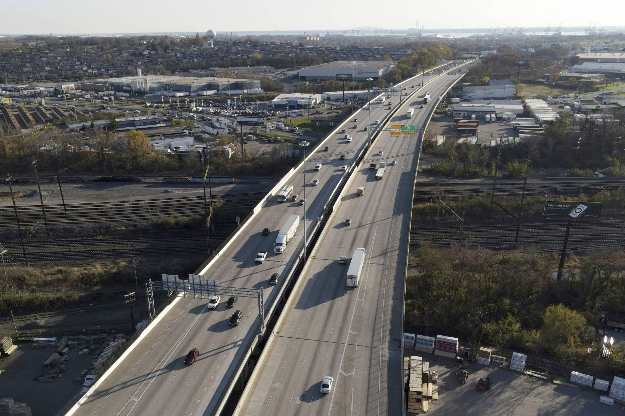 Vehicles travel along Interstate 95 in Rosedale, Maryland, on Nov. 24. AAA predicts that about 85 million Americans will travel between Dec. 23 and Jan. 3, most of them by car. If true, that would be a drop of nearly one-third from a year ago, but still a massive migration taking place in the middle of a pandemic.