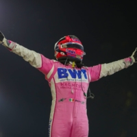 Sergio Perez celebrates after winning the Sakhir Grand Prix on Dec. 6. Perez will race for Red Bull next season. | AFP-JIJI