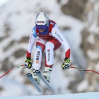 Corinne Suter speeds down the course during a women's World Cup event in Val d'Isere, France, on Friday. | AP