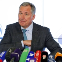 Russian Olympic Committee President Stanislav Pozdnyakov speaks during a news conference in Moscow on Thursday. | AP