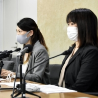 Asuka Someya (left) heads a civil society group working to promote over-the-counter sales of morning-after pills. | KYODO