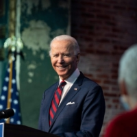 U.S. President-elect Joe Biden speaks during an event to introduce key Cabinet nominees and members of his climate team at The Queen Theater in Wilmington, Delaware, on Saturday.  | AFP-JIJI