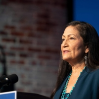 Congresswoman Deb Haaland delivers remarks after being introduced as U.S. President-elect Joe Biden's nominee to be the next Secretary of Interior on Saturday.  | AFP-JIJI