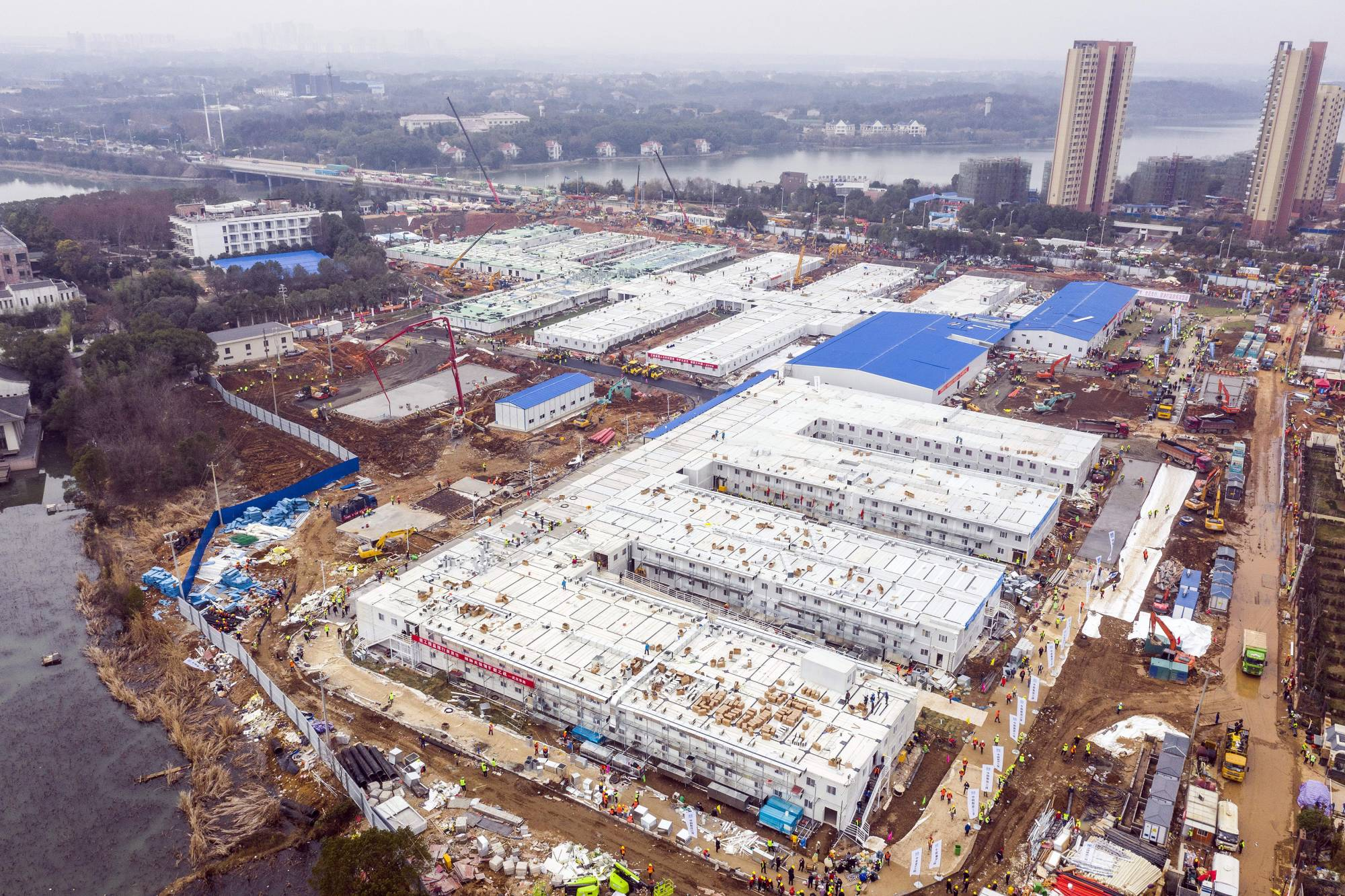 The Huoshenshan temporary field hospital nears completion in Wuhan, China, in February. | CHINATOPIX / VIA AP
