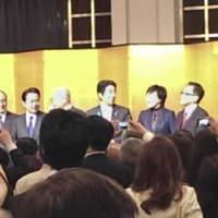Then-Prime Minister Shinzo Abe attends a dinner party the night before a cherry blossom viewing event in Tokyo in April 2019. | COURTESY OF A PARTICIPANT / VIA KYODO
