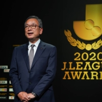 J. League Chairman Mitsuru Murai speaks during Tuesday's awards ceremony. | COURTESY OF THE J. LEAGUE