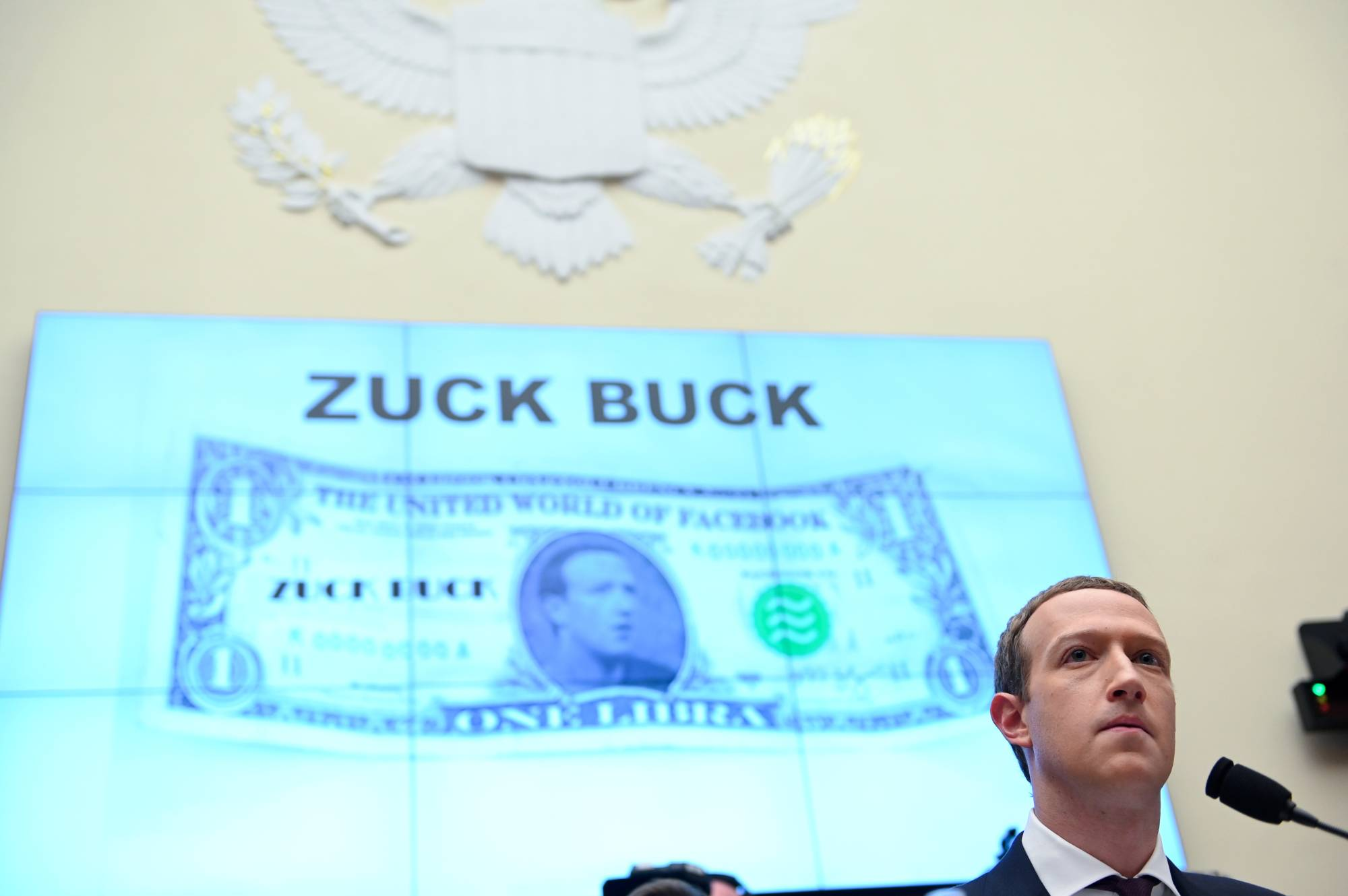 Facebook Chairman Mark Zuckerberg testifies at a House Financial Services Committee hearing on the company's plan to launch a digital currency, in Washington in October 2019. | REUTERS