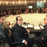 Then-Prime Minister Sosuke Uno (center) attends the Group of Seven summit in Paris in July 1989.  | KYODO