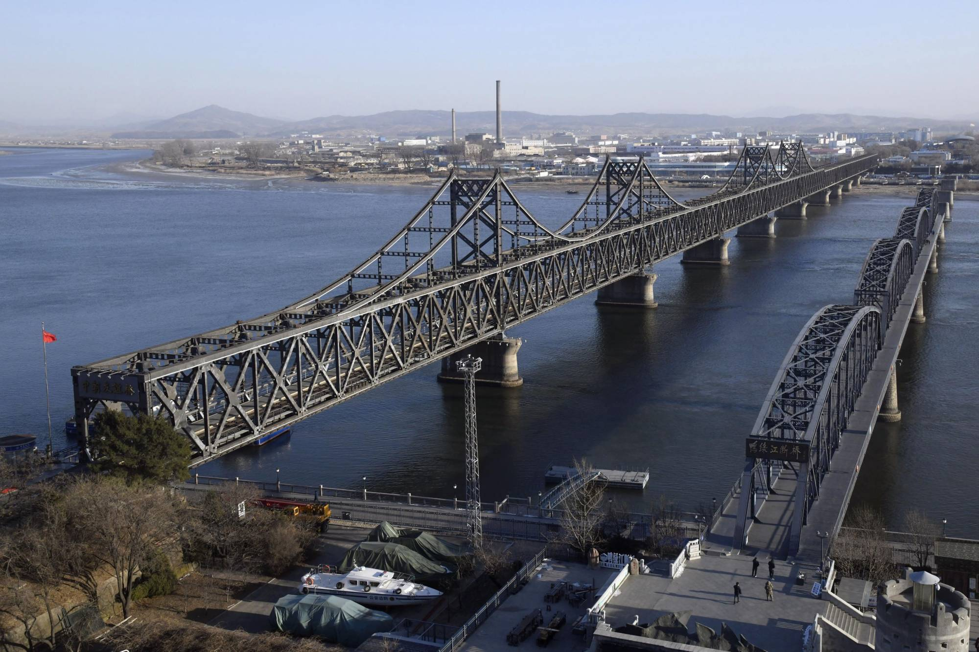 The Sino-Korean Friendship Bridge that links China's Dandong and North Korea's Sinuiju is seen on Dec. 18. | KYODO