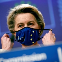 European Commission President Ursula von der Leyen gives a statement on the outcome of the Brexit negotiations in Brussels on Thursday.  | POOL / VIA REUTERS