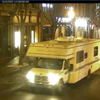 This image taken from surveillance video shows a recreational vehicle that was involved in a blast on Friday in Nashville, Tennessee. The explosion shook the largely deserted streets early Christmas morning, shattering windows, damaging buildings and wounding some people.  | METRO NASHVILLE PD / VIA AP