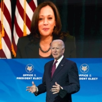 U.S. President-elect Joe Biden speaks as Vice President-elect Kamala Harris watches via video link during a news conference at Biden's transition headquarters in Wilmington, Delaware, on Dec. 16. | POOL / VIA REUTERS