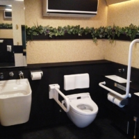 The interior of a the mobile washroom jointly developed by Toyota Motor Corp. and Lixil Corp. | TOYOTA MOTOR CORP., LIXIL CORP. / VIA KYODO