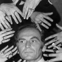 Cardin with an assortment of rings from his latest jewelry collection in Paris in 1969 | AP