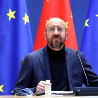 Charles Michel, president of the European Council, attends an EU-China investment accord virtual meeting in the Europa Building in Brussels on Wednesday. | POOL / VIA BLOOMBERG