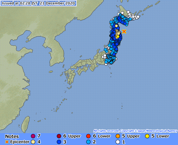 The epicenter of the earthquake that occurred on Dec. 21 at 2:23 a.m. off Aomori Prefecture | JAPAN METEOROLOGICAL AGENCY