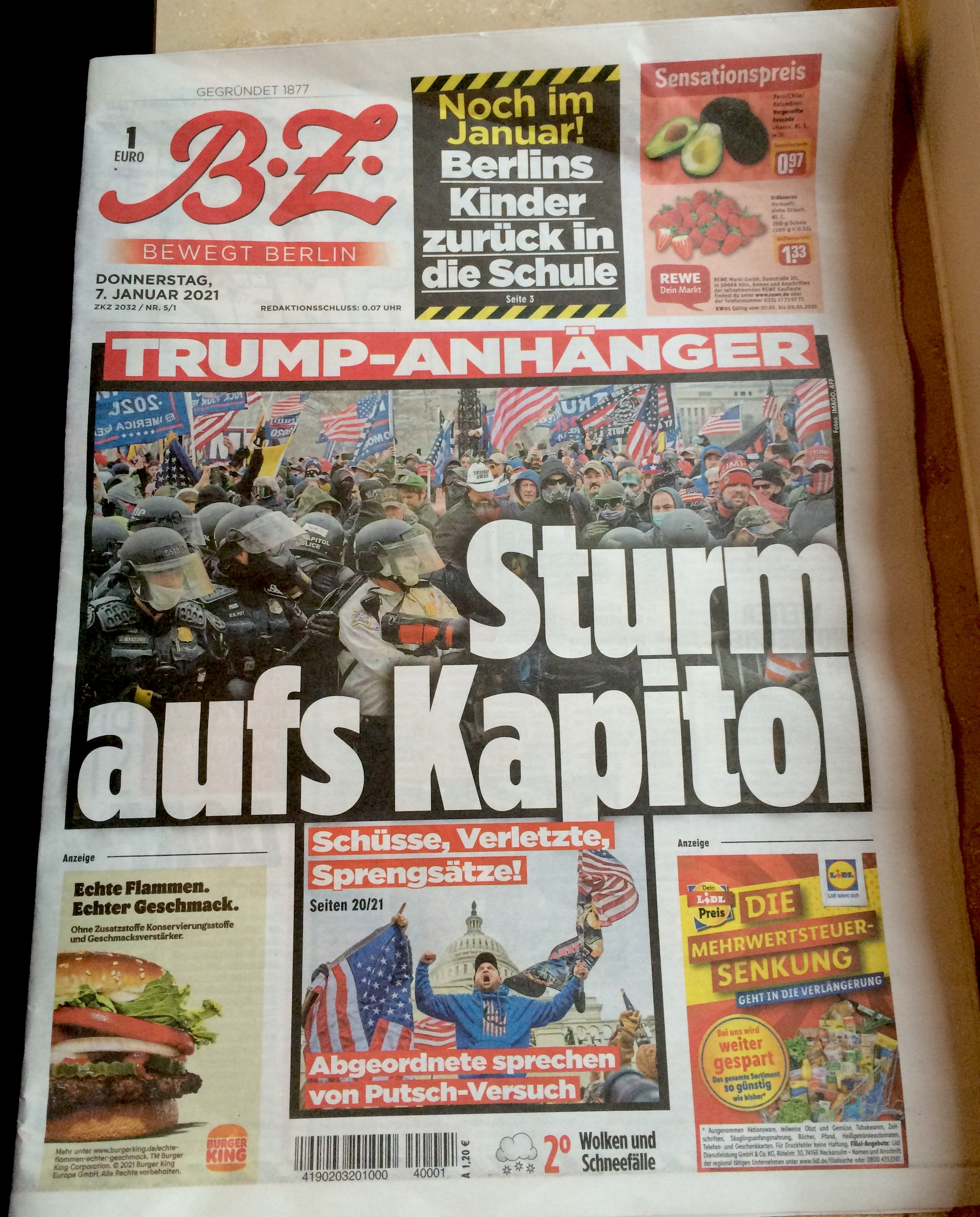 The front page of a Berlin tabloid features the news of Trump supporters storming the Capitol building in Washington on Wednesday. | BEN STUBBINGS