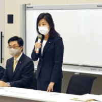 Seiko Noda, LDP executive acting secretary-general, speaks at a gathering in the Diet on Dec. 9. | KYODO