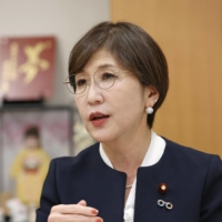 Tomomi Inada, former defense minister, speaks during an interview. | KYODO