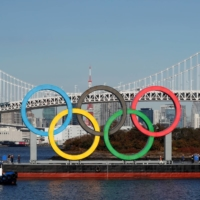 The Olympic rings are reinstalled at Odaiba Marine Park in Tokyo on Dec. 1, 2020.