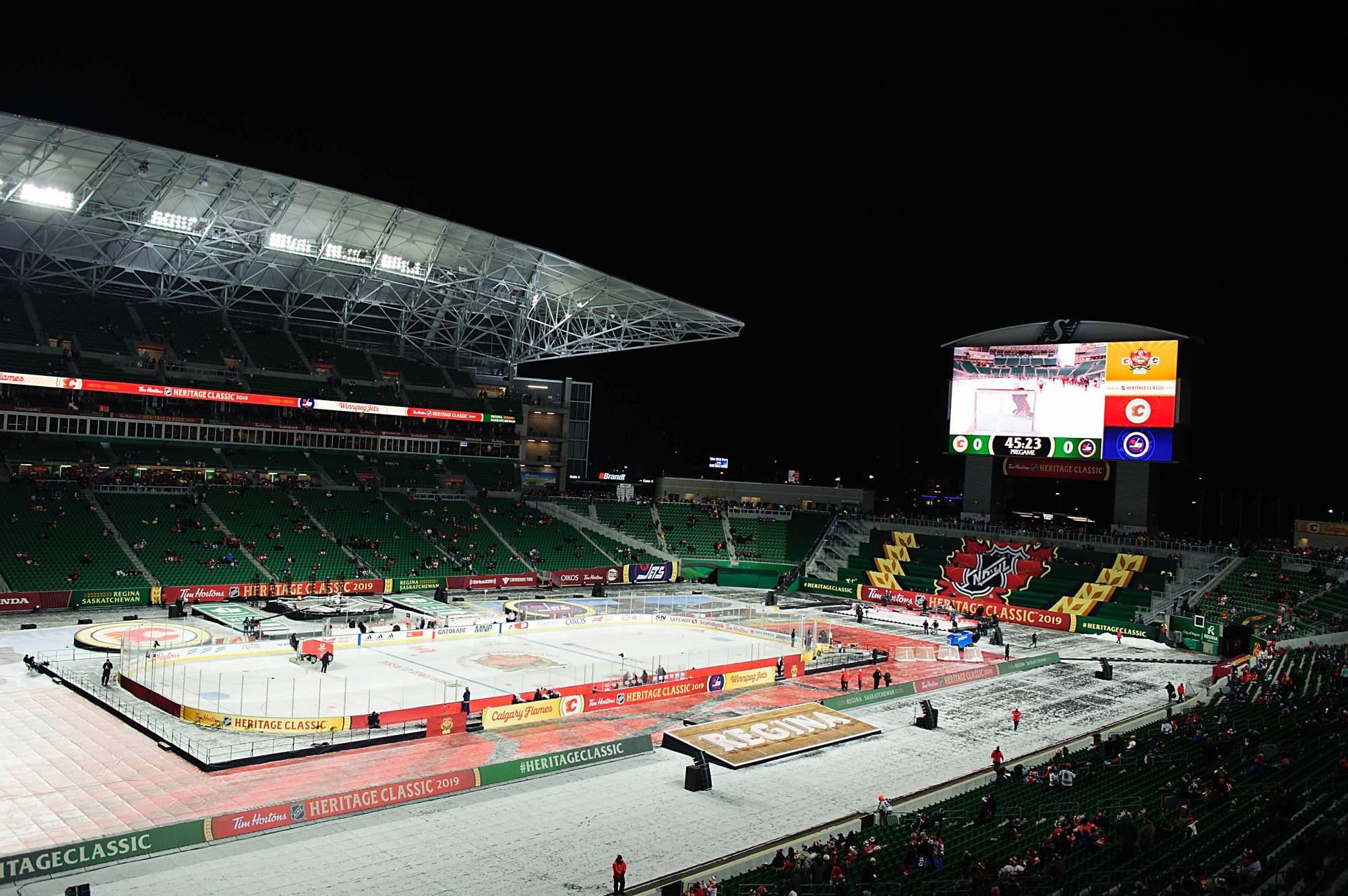 Mosaic Stadium is seen before the start of the 2019 Heritage Classic between the Jets and Flames on Oct. 26, 2019. | USA TODAY / VIA REUTERS